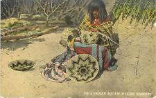 1915 circa Pima Indian Squaw Making Baskets postcard