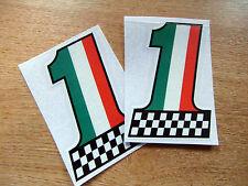 X2 Bandera Italiana Colores # 1 Adhesivo - 100mm Alta calcomanía Par