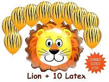 Lion Jumbo Foil Helium Balloon + 10 Latex Jungle Safari Zoo Animal Decoration