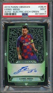 2019 PANINI OBSIDIAN LIONEL MESSI BARCELONA AUTO ELECTRIC ETCH GREEN 9/10 PSA 9