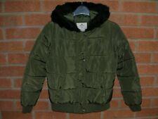 YD Girls Khaki Green Hooded Winter Coat School Jacket Age 10-11 146cm