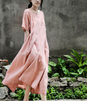 Womens Dress Loose Fit Caftan Lagenlook Maxi Short Sleeve Cotton Linen Casual
