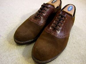 LL Bean  Oxford  Saddle Shoes Rustic Brown Leather Suede Sz 8.5 E  USA
