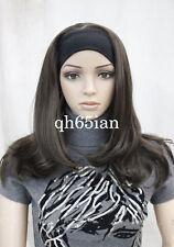 Fashion women long wig Dark Brown 3/4 half wigs with headband cosplay wig
