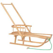 Trineo de madera con respaldo empuje podadoras Rodel niños trineo de invierno
