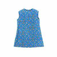 Vintage 60s Girl's Lightweight Blue Cotton Sleeveless Floral Mod Shift Dress 8