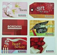 Borders Waldenbooks Gift Card LOT of 6 / Grad, Birds - 2007, 2008 - No Value