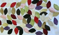 72 VELVET LEAVES with 12 Mixed Colours 6 of each colour - approx 3x5cm per Leaf