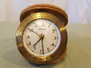 Vintage 1940's Semca Travel Alarm Clock with World Time Zone