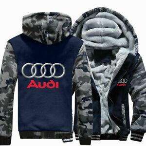 Winter Warm Audi Auto Moto Pullover Top Men Hoodie Zip Up Jacket Thicken Coat &