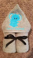 Personalized Turquoise Elephant Grey Hooded Towel