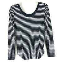 Ann Taylor Loft Womens Small Black White Stripe Scoop Neck Long Sleeve Shirt