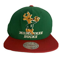 Milwaukee Bucks Mitchell & Ness Hardwood Classics Vtg Logo Snap Back Wool Hat