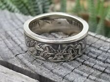 Coin ring MADE  from AUSTRALIAN SILVER  Half Dollar  Antique finish in size 9-14