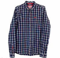 Superdry Mens London Button Down Blue/Red Check Long Sleeve Shirt Size Medium