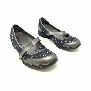 Skechers Navy Grey Mary Jane Flat Comfort Shoes UK 5 EU 38 Strap Beaded