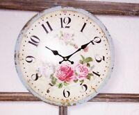 Wanduhr Uhr Roses  Shabby Vintage Landhaus Uhr 28cm Rose Rosen