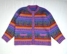 Vtg Fuzzy Alpaca Wool Blend Rainbow Knit Southwestern Grandpa Cardigan Sweater M