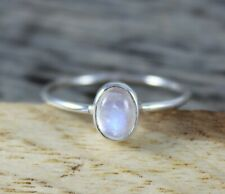 Natural Rainbow Moonstone 925 Sterling Silver 5 X 7 MM Oval Cabochon Ring
