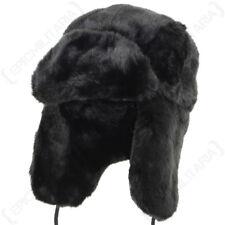 Black Faux Fur Ushanka - Winter Warm Russian Cossack Thick Ski Ear Flap Hat New