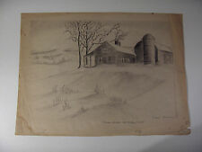 Grant Arnold Original Pencil Drawing Signed Farm House 1944 Study Piece?
