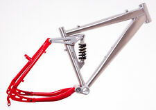 """24"""" FULL SUSPENSION ALLOY Bike Bicycle FRAME (15"""" size) in RED & SILVER New"""