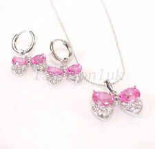 Women Butterfly Dangle Earrings Necklace Set New Pink CZ Cubic White Gold Plated