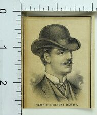 1870's Engraved London & 5th Ave. Style Hats At The Factory Derby Trade Card F73