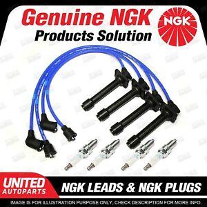 4 x NGK Spark Plugs + Ignition Leads Set for Mazda 626 GE 2.0L FS 4Cyl 16V 85kW