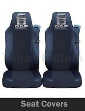 2x DAF XF 105 105 CF (LF) FUNDAS DE ASIENTO a medida Hgv Camión Negro/Negro Logo
