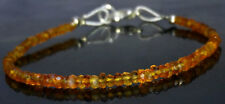 "Natural Dark Citrine Gemstone Faceted 3-4MM Beads Bracelet 7"" Inch Jewellery"