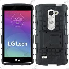 Coque Housse Etui Anti Choc Armor Outdoor Bequille Noir LG Leon 4G LTE H340N