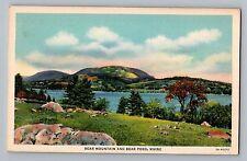 Maine ME Bear Mountain & Bear Pond View Curt Teich Linen Postcard 1935