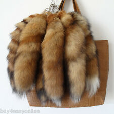 10pcs/lot  Real Animal Large Luxury Red Fox Tail Fur Keychains Tassel Bag Tag