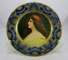 """Antique Vienna Art Plate 1905 Tin Litho Profile Portrait by H.D. Beach Co. 10"""""""