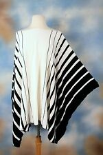 NEW RALPH LAUREN white striped boho gorgeous poncho sweater L/XL