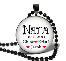 Personalized Nana Glass Top Pendant Necklace Custom Names Handmade Jewelry