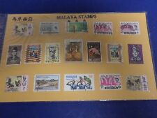 17 DIFFERENT POSTMARKED MALAYA POSTAGE STAMPS,  IN A SEALED PACKAGE.1960-1970