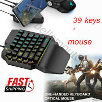 One-handed Small 39 Keys Mechanical Gaming Keyboard USB Wired + Mouse for PC UK