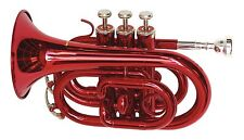 """DIMAVERY TP-300 Bb POCKET TASCHEN TROMPETE """"ROT""""  inkl. KOFFER COMPACT TRUMPET"""