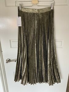 Reiss Metallic Pleated Midi Skirt Size 8