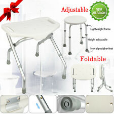 Foldable Bath Shower Chair Aluminium Stool Seat Elderly Disability Aid 7 Height