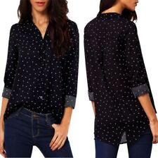 Fashion V-Neck Shirt Women Casual Long Sleeve Chiffon T-Shirt Loose Tops Blouse