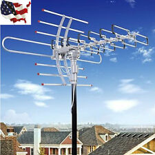 Outdoor Amplified Antenna Digital HD TV 360 Rotor UHF/VHF/FM HDTV 1080P US!