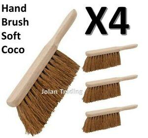 "4 x Soft Coco 10"" Hand Brush Bricks Bricklayers Walls Pointing Durable"