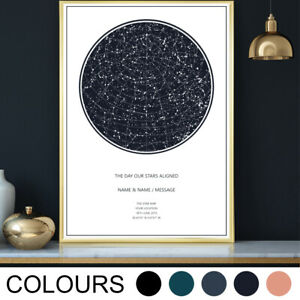 Personalised Star Map Wall Art Print Valentines Anniversary Wedding Gift A3 -A1
