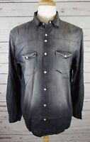 New INC International Concepts Men's Cassidy Faded Denim Shirt Deep Black $65.00