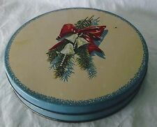 Christmas Tin Metal Can Container Evergreen Bells Bow Aqua Vintage Round Shallow
