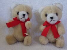 """Lot Of 2 Stuff Bear With Movable Arms & Legs Christmas Ornaments 5"""""""