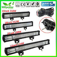 12/15/18/20/22inch Tri Row 7D LED Work Light Bar for Off road Car 4WD SUV Jeep